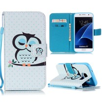 Slapende Uil Bookcase Hoesje Samsung Galaxy S7