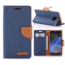 Goospery Blauw Stoffen Bookcase Hoesje Samsung Galaxy S7