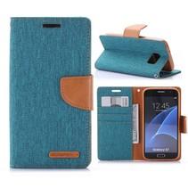 Goospery Groen Stoffen Bookcase Hoesje Samsung Galaxy S7
