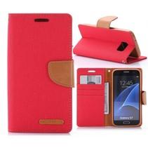 Goospery Rood Stoffen Bookcase Hoesje Samsung Galaxy S7