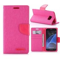Goospery Roze Stoffen Bookcase Hoesje Samsung Galaxy S7
