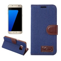 Blauw Jeans Bookcase Hoesje Samsung Galaxy S7