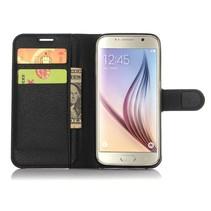 Zwart Litchi Bookcase Hoesje Samsung Galaxy S7