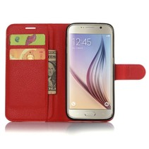 Rood Litchi Bookcase Hoesje Samsung Galaxy S7