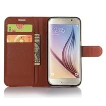 Bruin Litchi Bookcase Hoesje Samsung Galaxy S7