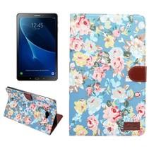 Bloemen Blauw Stoffen Flipcover Samsung Galaxy Tab A 10.1 2016