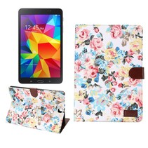 Witte bloemenstof flipstand hoes Samsung Galaxy Tab A 9.7