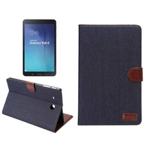 Zwarte denim flipstand hoes Samsung Galaxy Tab E 9.6