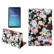 Zwarte bloemenstof flipstand hoes Samsung Galaxy Tab E 9.6