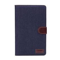 Blauwe denim flipstand hoes Samsung Galaxy Tab S 8.4