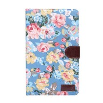 Blauwe bloemenstof flipstand hoes Samsung Galaxy Tab S 8.4