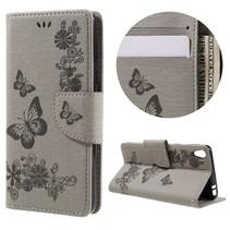 Grijs Bloemen Bookcase Hoesje Sony Xperia E5