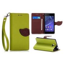 Groene leaf Bookcase hoes Sony Xperia M2