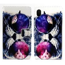 Kat met zonnebril Bookcase hoes Sony Xperia M4 Aqua
