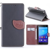 Zwart Blad Design Bookcase Hoesje Sony Xperia M5