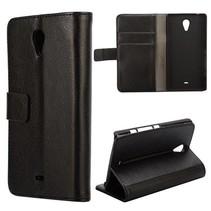 Zwart lychee Booktype  hoesje Sony Xperia T