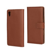 Bruin Leder Bookcase Hoesje Sony Xperia X