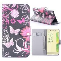 Roze Vlinders Bookcase Hoesje Sony Xperia X