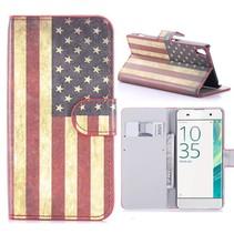Amerikaanse Vlag Bookcase Hoesje Sony Xperia XA