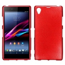Red brushed TPU hoesje Sony Xperia Z1