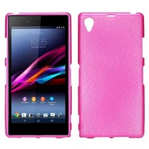 Pink brushed TPU hoesje Sony Xperia Z1