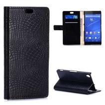 Zwarte krokodillen Bookcase hoes Sony Xperia Z3