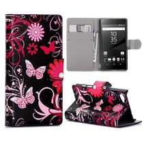 Roze Vlinders Bookcase Hoesje Sony Xperia Z5 Compact