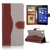Bruin / grijs jeans Bookcase hoes Sony Xperia Z5