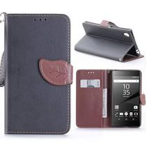 Zwart Blad Design Bookcase Hoesje Sony Xperia Z5 Premium