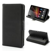 Leder Booktype  hoesje zwart Sony Xperia ZL