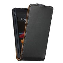 Leder Flip Case hoesje zwart Sony Xperia ZL
