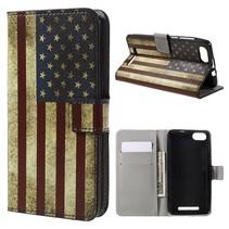 Amerikaanse Vlag Bookcase Hoesje Wiko Lenny 3