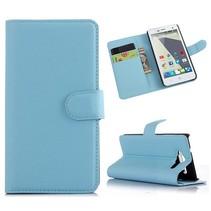 Blauwe lychee Bookcase hoes ZTE Blade L3