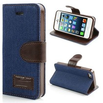 Donkerblauw jeans Booktype  hoesje iPhone 5 / 5s / SE