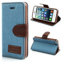 Lichtblauw jeans Booktype  hoesje iPhone 5 / 5s / SE