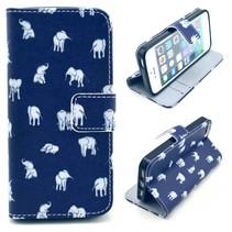 Olifantjes blauw Bookcase hoesje iPhone 5 / 5s / SE