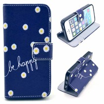 Be Happy blauwe Bookcase hoes iPhone 5 / 5s / SE