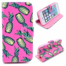 Ananas roze Booktype  hoesje iPhone 5 / 5s / SE