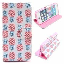 Stijlvol ananas Bookcase hoesje iPhone 5 / 5s / SE