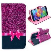 Bookcase hoesje met roze strik Galaxy S5 / Plus / Neo
