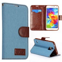 Jeans lichtblauwe Bookcase hoes Galaxy S5 / Plus / Neo
