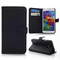 Lychee zwart Booktype  hoesje Galaxy S5 / Plus / Neo