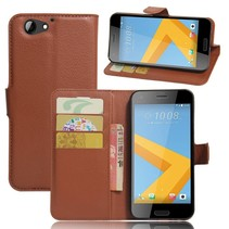 Litchee Booktype Hoesje HTC One A9s - Bruin