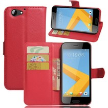 Litchee Booktype Hoesje HTC One A9s - Rood