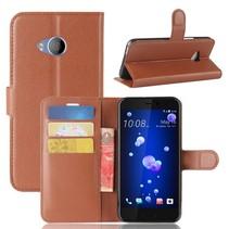Litchee Booktype Hoesje HTC U11 Life - Bruin