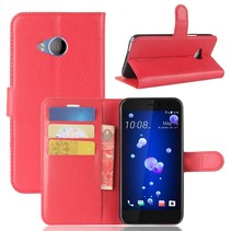 Litchee Booktype Hoesje HTC U11 Life - Rood