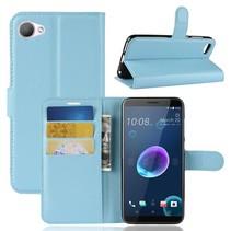 Litchee Booktype Hoesje HTC Desire 12 - Lichtblauw