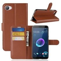 Litchee Booktype Hoesje HTC Desire 12 - Bruin