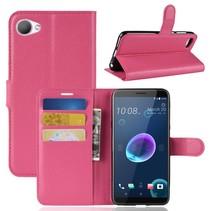 Litchee Booktype Hoesje HTC Desire 12 - Roze
