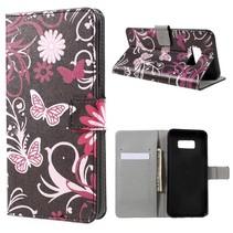 Booktype Hoesje Samsung Galaxy S8 Plus - Roze Vlinders